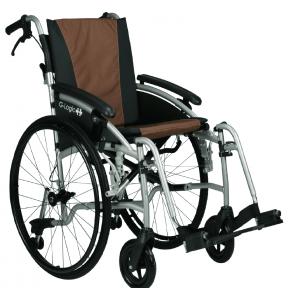 Invalidní vozík EXCEL G-LOGIC - stříbrná konstrukce +  vínový potah